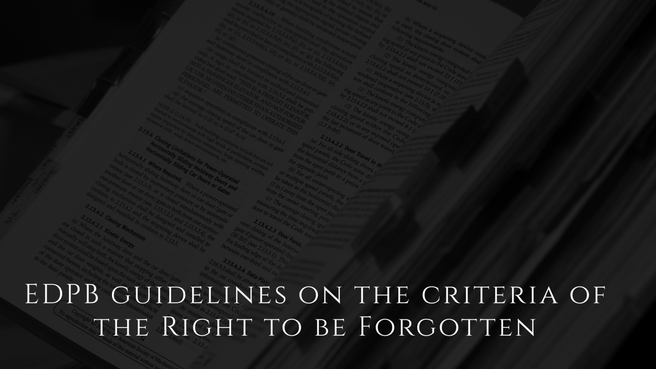 EDPB Guidelines Right to be Forgotten